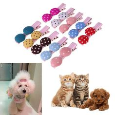 10Pcs/lot Pet Hair Clips Mix Colors Cute Polka Dots Buttons Dog Hair Beauty Clips Dog Hair Accessories Pet Products