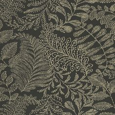 A bold black and gold botanical wallpaper. This chic design has a shimmering gold ink that catches the light. The intricate print has lush artistic look. Large Print Wallpaper, Plant Wallpaper, Botanical Wallpaper, Damask Wallpaper, Geometric Wallpaper, Bathroom Wallpaper, Wallpaper Roll, Wall Wallpaper, Pattern Wallpaper