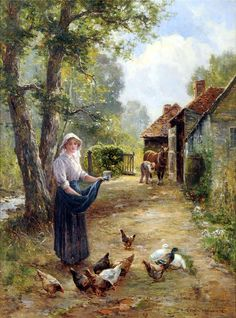 Feeding the Chickens - Counted cross stitch pattern in PDF format by Maxispatterns on Etsy