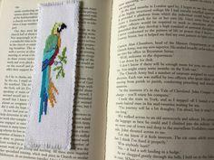 Handmade cross stitch bookmark  Parrot. by RainbowsEndCraft