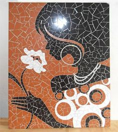 Belo painel com técnica de mosaicos                                                                                                                                                      Mais