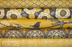 Amazing color scheme  Joel Dewberry Fabric /  5 Half Yard Bundle   / Vintage Yellow  / Aviary 2 - Cotton Quilt Fabric. $29.99, via Etsy.