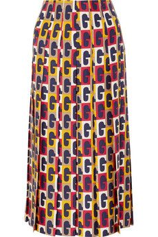 Multicolored silk-twill Concealed zip fastening along back silk Dry clean Made in Italy 70s Fashion, Skirt Fashion, Work Fashion, Cotton Maxi Skirts, Twill Shirt, Gucci Shoulder Bag, Midi Skirt, Printed Silk, Church Dresses