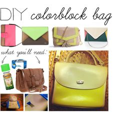 "Lord knows I have ever color spray paint at my house! Hmmm which purse of mine will get a makeover??? ""DIY: Colorblock Bag"" by polyvore-editorial on Polyvore"