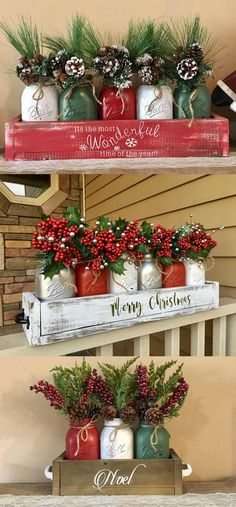I love this idea! Decorate your table, mantel or front porch with rustic planters and painted mason jars. These arrangements are beautiful! #christmasdecor #giftidea #etsy #ad