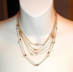 Eight 1970's Gold Tone Glass Necklaces by gallery122 on Etsy