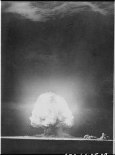 """Trinity"" explosion at Alamogordo, New Mexico., 7/16/1945 (US Department of Energy)  General Records of the Department of Energy, 1915 - 2007   On July 16, 1945 the United States tested the first nuclear device, code named ""Trinity"", at White Sands Proving Ground, New Mexico."