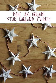Origami Christmas Ornament, Origami Ornaments, Christmas Diy, Origami Garland, Origami Flowers, Diy Christmas Tree Garland, Christmas Stars, Minimal Christmas, Simple Christmas