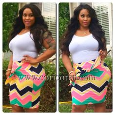 Plus Size Chevron Print Skirt - Cori Coren Boutique