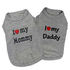 Adorable I Love My Mommy Daddy T-shirt For Dogs