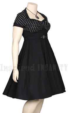 ROCKABILLY POLKA DOT + BLACK BELT 50S PINUP SWING DRESS - PLUS SIZE (Really good shape, can use gores as well.)