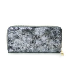 Stylish Metallic Foil Leather-like Accordion Zip Around Wallet Clutch (Silver) ** Want additional info? Click on the image.