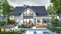 Dom w telimach 2 (G) Small House Interior Design, House Design, Dormer House, Modern Bungalow House, House Extension Design, Hamptons House, House Extensions, Dream Rooms, Home Fashion