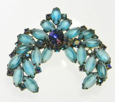 De Lizza and Elster Juliana Matte Frosted Crescent Rhinestone Brooch Vintage