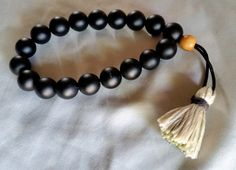 Men's Matte Onyx Bead Wrist Mala Prayer Beads on Leather Cord with Olive Wood Bead and Handmade Tassel