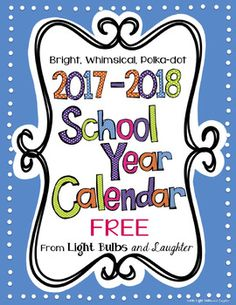 These FREE and editable colorful polka dot calendars have been updated for the 2017-2018 school year! Their whimsical design will make you smile while helping to keep you organized for the coming school year! They begin with August, 2017 and end with July, 2018.