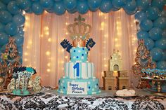 Royal prince birthday party dessert table! See more party planning ideas at CatchMyParty.com!