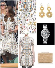 ALEXANDER McQUEEN               Customised: 'Obsessions Talisman' fit-&-flare jewel print dress (£3,000). Gianvito Rossi: Praline suede stilettos. LKB: Natalie raffia box-clutch. Brora: gold-charm loop earrings. Debut:  Wimbledon '16.
