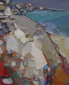 Ben Taffinder   Man walking on Gyllyngvase, Falmouth. Oil on canvas. 65x75cm. NFS