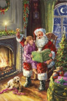 Singing Christmas songs with Santa Claus on a magical Christmas Eve Old Fashioned Christmas, Magical Christmas, Christmas Scenes, Santa Christmas, Christmas Pictures, Beautiful Christmas, Christmas Time, Father Christmas, Illustration Noel