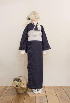 フリル着物(リネン・ネイビー) | 着物、浴衣 さく研究所