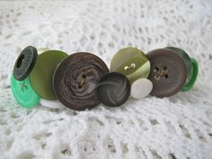 Green and Brown Button Barrette made with Vintage Buttons on Etsy, $10.00