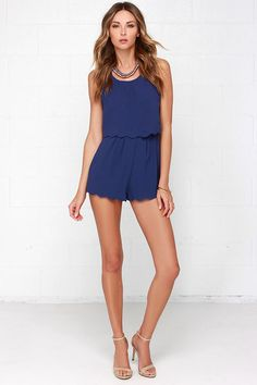 Ahead of the Curves Scalloped Navy Blue Romper at Lulus.com!