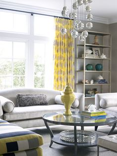 This Living Room with the bold Leon Yellow draperies and accessory accents is a great room Yellow Gray Room, Home Living Room, Interior, Home Furnishings, Traditional Home Magazine, Living Room Windows, Home Decor, Indoor Decor, Interior Design