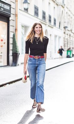 How the Most Stylish Women Pull Off High-Waisted Jeans via @WhoWhatWearUK