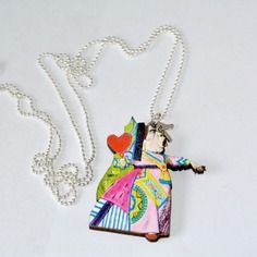 Collana con immagine vintage della regina di cuori di alice nel paese delle meraviglie