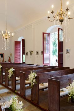 Wooden pews are decorated with white demdrobium orchids and silk ribbons.