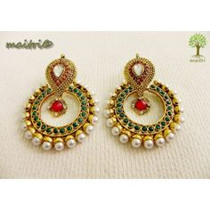 Online Shopping for Antique Earring - Red green Gold | Earrings | Unique Indian Products by Maitri Crafts  AME 40 - Antique Earring - Red green Gold Length : 6 cm, Breadth at the center : 4.5 cm maitri_crafts@yahoo.com