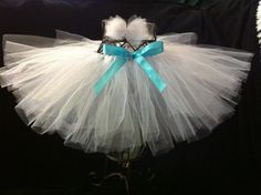 white tutu with matching tulle hair bow