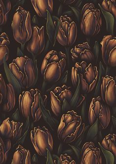 Golden tulips. Seamless floral pattern