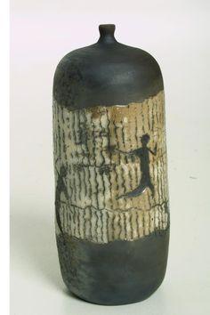 Nita Claise raku bottle