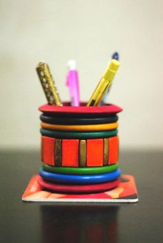 diy bangle pen stand