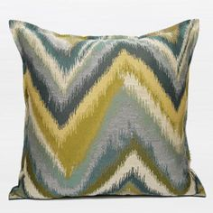 "Green and Blue Big Chevron Pattern Jacquard Pillow 20""X20"" - Gentille Home Collection - 1"