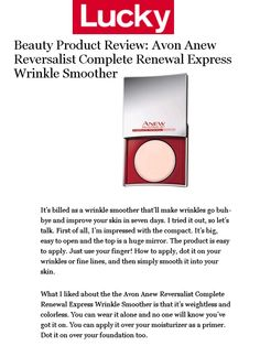 We spot ANEW Reversalist Complete Renewal Express Wrinkle Smoother in @luckymagazine! #ANEWyou