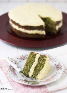 Pastel de té verde japonés y crema de naranja. Receta