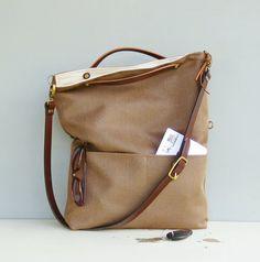 55ea579cfa68 Herringbone Tote Purse - Custom Length Leather Strap - Fawn Brown Tote Bag  - Cross Body Purse - Messenger Bag - Plus Size Foldover Bag