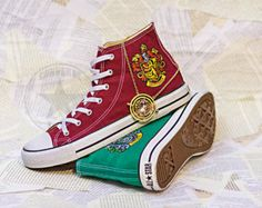 TWO PAIRS Harry Potter House Gryffindor and Slytherin Emblem Sneakers Converse Chucks Custom Painted Shoes Hand Painted Shoes Hi-Top