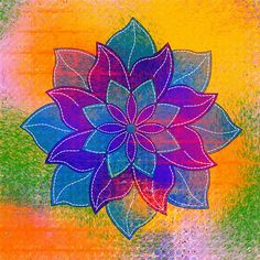 Digital art with mandala and stitching - Genevieve Crabe -- Some new digital collages, including a combination of digitally-painted layers, and scans of drawing and hand-painted papers.