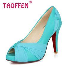 Size 34-43 Women's High Heel Shoes Peep Toe Sandals Dress Footwear Fashion Ladies Wedding Female Gladiator Shoes Pumps P12895