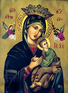 Our Lady of Perpetual Help Religious Pictures, Jesus Pictures, Religious Icons, Religious Art, Blessed Mother Mary, Blessed Virgin Mary, Immaculée Conception, Queen Of Heaven, Mama Mary