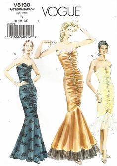 UNCUT VOGUE STRAPLESS FITTED MERMAID FORMAL DRESS IN TWO LENGTHS SEWING PATTERN