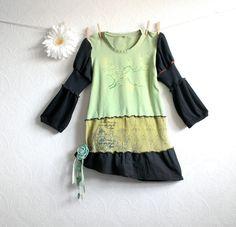 Upcycled Clothing Women's Green Shirt Black Recycled Top Boho Clothes Eco Fashion Reconstructed Medium Large 'YULA'