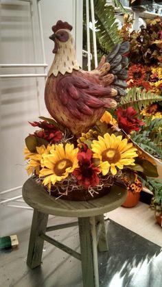 Kayla@Michaels Lisbon CT  Rooster sunflower decor