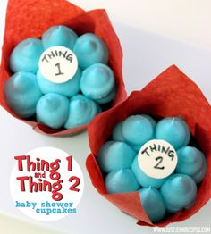 Dr Seuss Thing 1 and Thing 2 baby shower cupcakes
