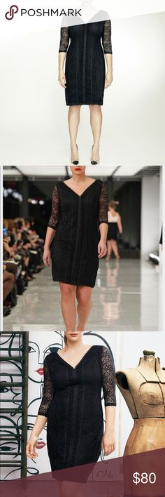 "•Isabel Toldeo for Lane Bryant• Stretch Lace Dress Stunning!  Black stretch lace cocktail dress with elbow-length sleeves and V-front and back neckline.  Covered modern seams.  Back zipper with hook & eye closure.  Fully lined. Bust: 51""  Length: 41.5"" (PF8) Lane Bryant Dresses"