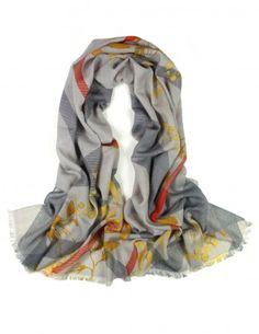 Dahlia Women's 100% Merino Wool Pashmina Scarf - Golden Leaf on Plaid - Gray